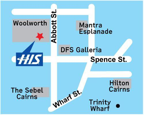 H.I.S. Cairns Office Map